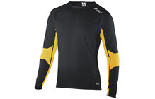 2XU MR2184a tshirt sport Homme Comp, L/S, Top orange/noir